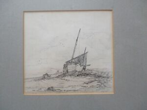 """Fine antique etching/engraving beached boat Kent coast ? initialled """"RTC 69"""""""
