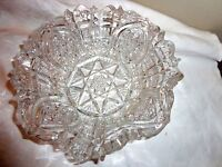 """VINTAGE CRYSTAL PRESSED GLASS BOWL CANDY DISH 8"""" DIA X 2 1/2"""" H"""