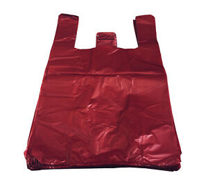 """RED Strong Plastic Vest Carrier Bags T Shirt Large Jumbo 14 mu 11"""" X 17"""" X 21"""""""