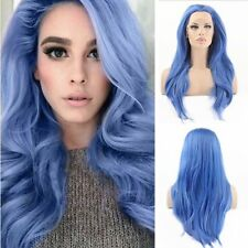 Blue Bird Lace Front Synthetic Wig Straight Long Blue Wig Half Hand Tied Heat Re