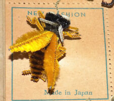 NOS Vtg Chenille Insect Pin/Brooch BUMBLE BEE Made in Japan on Card