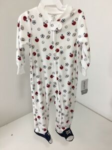 CARTER'S INFANT BOYS TERRY ONE PIECE SPORTS PRINT WHITE/RED/NAVY 9M NWT