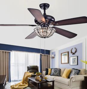 """52"""" Tiffany Style Crystal Bowl Shade Ceiling Fan Light Retro 5 Blades Chandelier"""