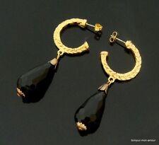 Geflochtene Creolen Ohrstecker mit schwarzen Lucite Tropfen Perlen Ohrringe