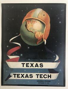 """1949 TEXAS LONGHORNS vs. TEXAS TECH RED RAIDERS 11x14"""" Football Program Poster"""