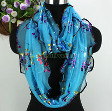 Fashion Womens Rainbow Floral Print Glitter Ruffle Long/Infinity Scarf Snood New
