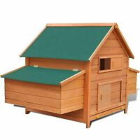 vidaXL Chicken Coop Wood Hen Poultry House Cage Hutch Run with Double Nest Box