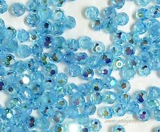 Swarovski Crystal #5000 3mm Aquamarine Faceted Round AB 2X  beads (60) Blue