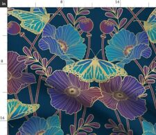 New listing Poppy Art Nouveau Jewel Poppies Butterfly Blue Spoonflower Fabric by the Yard
