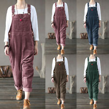 UK Womens Corduroy Sleeveless Dungaree Coveralls Jumpsuit Casual Loose Playsuit