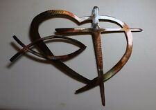 Heart & Cross and Fish Special   Copper/Bronze HANGING METAL WALL ART DECOR