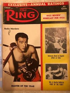 Rocky Marciano, Sugar Ray Robinson, Bobo Olson The Ring Magazine February 1956