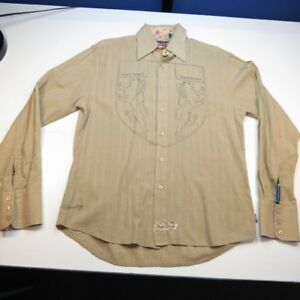 ENGLISH LAUNDRY CHRISTOPHER WICKS EMBROIDERED DRESS SHIRT Sz M Contrast Cuffs