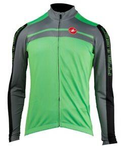 Castelli Velocissimo Men's Fleece Long Sleeve Cycling Jersey : Green Large