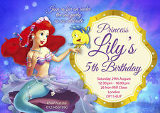 The Little Mermaid - Pack of 10 personalised invitations included envelope