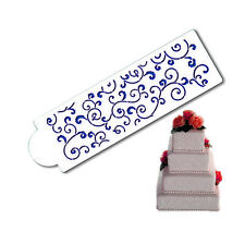 Leafy Scroll Cake Stencil Side