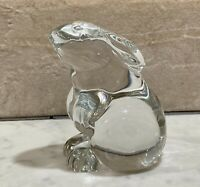 "Vintage Baccarat Rabbit Figurine / Paperweight, Clear Glass Crystal France 3"" H"