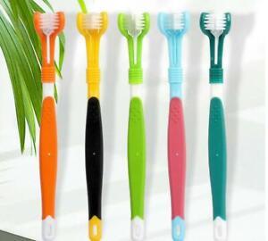 Three Sided Dog Toothbrush Reduce Tartar / Pet Cat Teeth Cleaning Oral Care UK