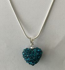 LOVELY CRYSTALS  15mm TEAL BLUE HEART PENDANT ON 17inch SILVER PLATE SNAKE CHAIN