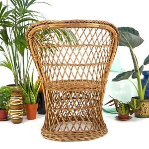 Vintage 1970s Rattan Peacock Chair - Mid Century Bohemian Wicker Bamboo Stand