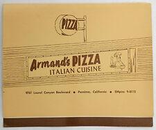 1960s Original Menu Armand's Pizza Italian Cuisine On Laurel Canyon Pacoima Ca.