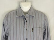 Armani Jeans Mens Long Sleeve Button Fromt Shirt Size M Medium Grey Stripes