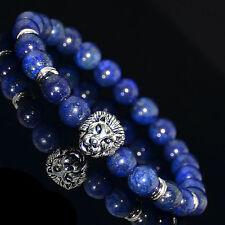 Men's Lapis Lazuli Silver Lion Head Elastic Beaded Tibet Charm Bracelet