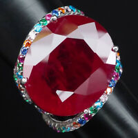 PIGEON BLOOD RED RUBY RING OVAL 36.62CT.GEMS 925 STERLING SILVER JEWELRY SZ 6.75