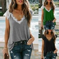 Womens Ladies Lace Sleeve Casual Shirt V Neck Summer T-shirt Tops Size 10-16