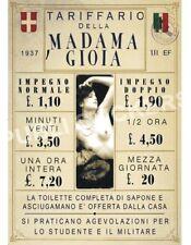 "TARGA VINTAGE 1937 CASA DI TOLLERANZA ""MADAMA GIOIA"" IMMAGINE RESTAURATA,BROTHEL"