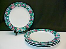 Furio Dinner PLATES SET OF 4 Contemporary Casuals Floral Teal Pink Color Pattern