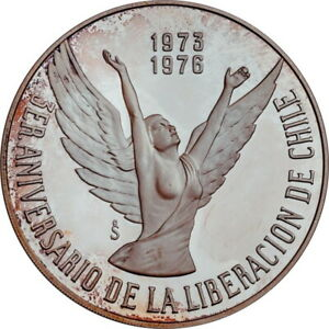 """Chile 10 pesos 1976 So, PROOF, """"3rd Anniversary - Chile's Liberation"""""""
