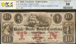 1861 $10 DOLLAR BILL SOUTH CAROLINA BANK NOTE LARGE CURRENCY PAPER MONEY PCGS 30