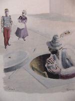 Simili Aquarelle L'oeuvre de Zola 1898 par H Lebourgeois Paris