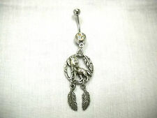 SPIRIT WOLF w MOON & FEATHER ROUND & 2 FEATHERS DANGLING 14g CLEAR CZ BELLY RING