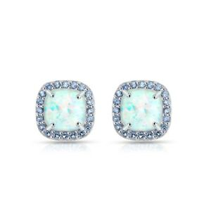 Cushion Cut Halo Simulated Opal & Tanzanite Stud Earrings in Sterlng Silver
