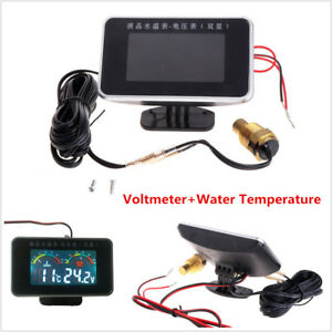 2In1 LCD Car Voltmeter+Water Temperature Gauge Thermometer+Sensor Head Plug 10mm