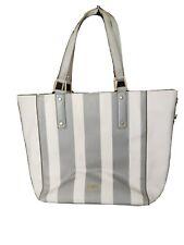 FAITH Grey White Striped Shoulder Bag Tote Handbag