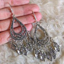 Vintage Womens Antique-Silver-Tone Leaves Charms Chandelier Dangle Hook Earrings
