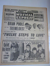 NME 8/28/64 Kinks Beatles Dave Berry Hermits Tremeloes Zombies Johnny Burnette