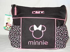 Black Disney Minnie Mouse Bow Pink Dots Baby Girl Large Shoulder Tote Diaper Bag
