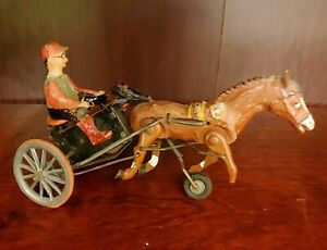 Vintage Windup Arabian Harness Racing Toy Trotter Sulky Horse Made in Germany