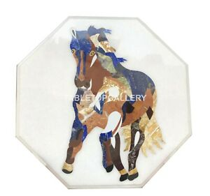"20"" Marble Table Top Inlay Beautiful Horse Interior Furniture Art Decorates W020"