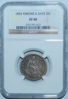 1853 NGC XF40 Seated Liberty Quarter Arrows & Rays