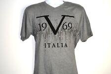 New VERSACE V-NECK T-SHIRT 1969 MILANO ITALIA Short Sleeve Mens Gray SMALL SIZE