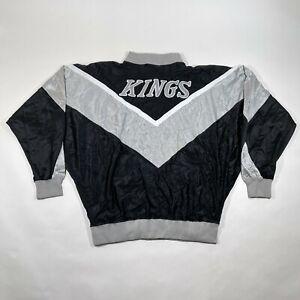 NEW Vintage Los Angeles Kings Warm Up Track Jacket Mens 3XL 48 Black Silver Zip