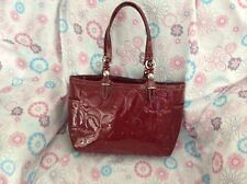 Coach F17728 Gallery Signature Tote Embossed Patent Leather Burgundy Bordeaux