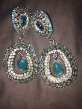 Light Blue Turquoise Chand Bali Statement Earrings
