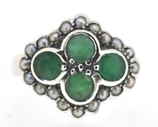 Ring Emerald & Pearl 925 Sterling Silver Antique Style Ø 17,2 Mm