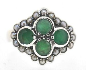 Ring Emerald & Pearl 925er Silver Antique Style #54